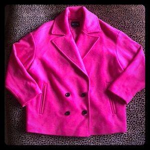 Express Fuschia Cropped Pea Coat
